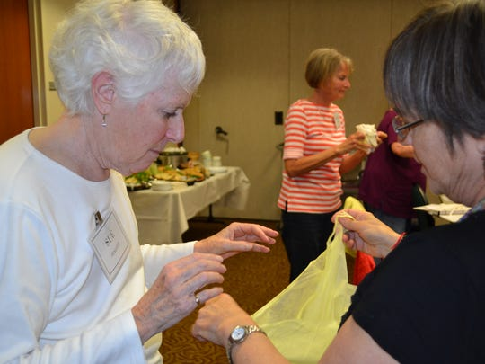 Sue Stalcup, a volunteer for the Augusta Health hospice program, trains on safety issues during a training session at the hospital.