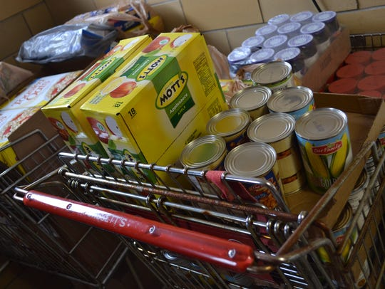 Food is stored for the Danbury Food Pantry at St. Paul