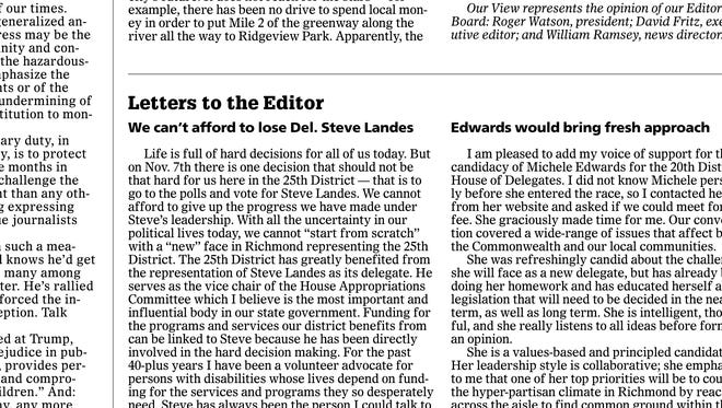 Letter to the Editor, News Leader