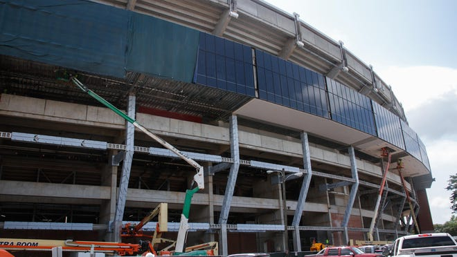 Construction at Bryant-Denny Stadium continues on the east side of the stadium.