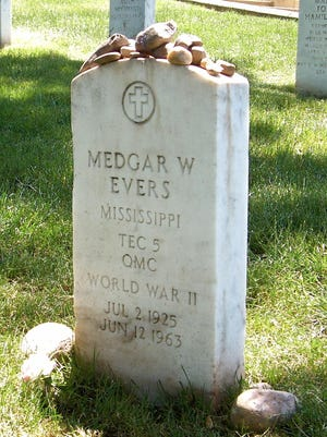 Civil rights leader and World War II veteran Medgar Evers, assassinated in Jackson, Mississippi, in 1963, is buried in Arlington National Cemetery.