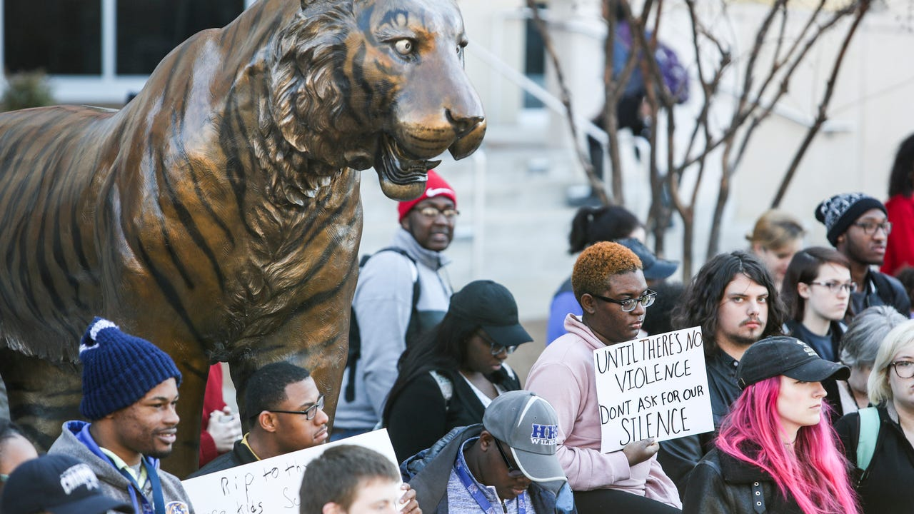 On Wednesday, students and faculty at The University of Memphis joined the national March For Our Lives protest.