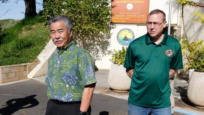 Hawaii Gov. David Ige and Maj. Gen. Joe Logan joined a press conference at Civil Defense at Diamond Head on Jan. 13, 2018, following the false missile launch alarm.