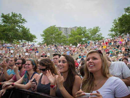 Fans cheer for Lighthouse and the Whaler Sunday afternoon at the River Stage.