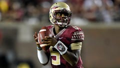 Florida State quarterback Jameis Winston (5) may be punished for an obscenity he reportedly yelled Tuesday on campus.