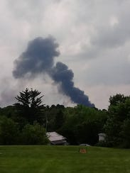A fire at Eichelberger's Auto Salvage on Sunnyside