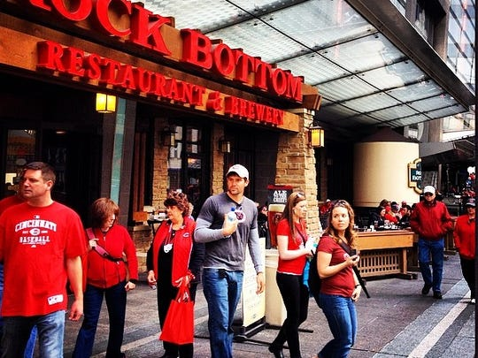 Reds fans hitting up Rock Bottom Brewery.