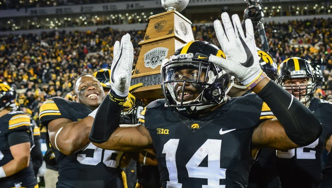 Desmond King, Iowa. High School: Detroit East English Village. Matchup: Iowa (8-4) vs. Florida (8-4) in the Outback Bowl on Jan. 2. Overview: The senior has not quite matched the success of last season when he was a consensus All-America and earned the Jim Thorpe and Jack Tatum awards. King ranked second in the nation in 2015 with eight interceptions and finished with 72 tackles and 13 pass breakups. King's numbers dipped largely because teams have avoided throwing in his direction. Still, he has two interceptions, including one returned for a touchdown, along with seven pass breakups and 2.5 tackles loss.  King is also a dangerous return man, and those numbers did increase to 27.2 yards on kickoffs and 9.8 for punts. He led the Big Ten and was among the top 15 in the nation in kickoff return yardage. King this season was named All-Big Ten first team again as a defensive back and the second-team as a return man. He is tied for fourth on Iowa's all-time career list with 13 interceptions and also has 248 career tackles, 8.5 for loss, and 46 pass breakups in 52 games.