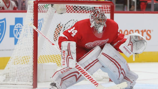 Red Wings' Petr Mrazek in goal during action against the Chicago Blackhawks on Sept. 28, 2017 at Little Caesars Arena.