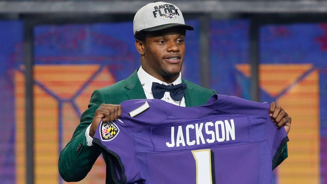 Apr 26, 2018; Arlington, TX, USA; Lamar Jackson (Louisville) is selected as the No. 32 overall pick to the Baltimore Ravens in the first round of the 2018 NFL Draft at AT&T Stadium.