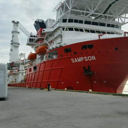 Sampson, a subsea construction vessel, pulled into