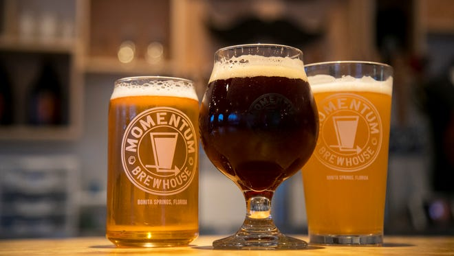Momentum Brewhouse carries about 10 of its beers at one time.