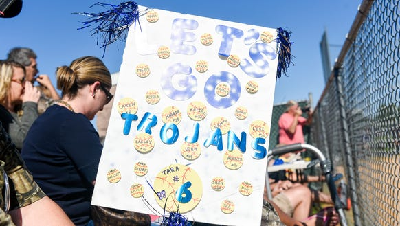 Fans show their support for the Lady Trojans with home