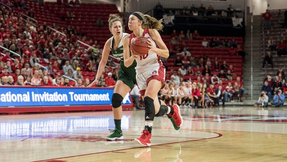 South Dakota's Allison Arens drives to the basket against
