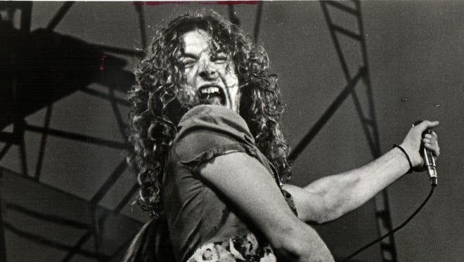 Robert Plant performs with Led Zeppelin on May 5, 1973, at Tampa Stadium.