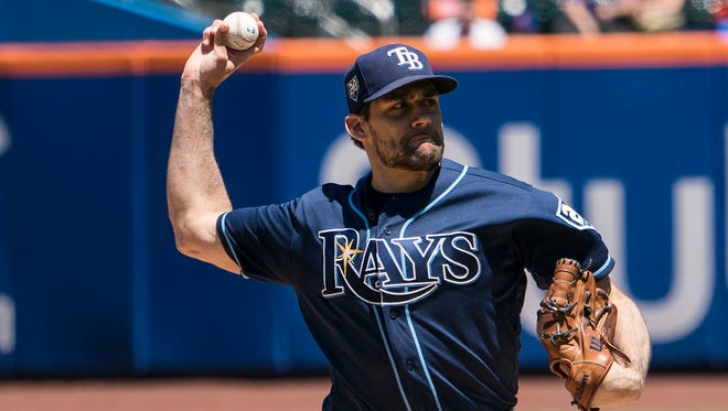 Tampa Bay Rays pitcher Nathan Eovaldi (24) delivers a pitch during the first inning of the game against the New York Mets at Citi Field.