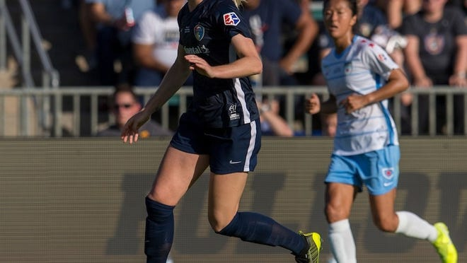 Former Whitman-Hanson High star Sam Mewis of the North Carolina Courage dribbles during the NWSL championship game against the Chicago Red Stars at WakeMed Soccer Park on Oct. 27, 2019 in Cary, North Carolina. Photo courtesy of North Carolina Courage.