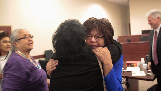 State Rep. Sharon Clahchischilliage reacts after winning her case Friday in Aztec District Court in keep her name on the June primary ballot as she seeks re-election.