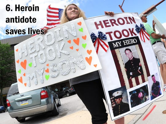 Teresa Smith of Spring Grove joined the heroin protestors in Hanover's Center Square in this June 14, 2014 photo.