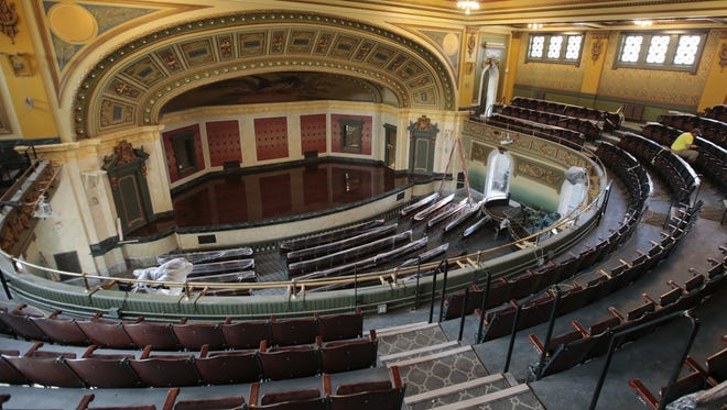 Memorial Hall's auditorium has been restored and carefully updated, retaining the integrity of the 1908 building.