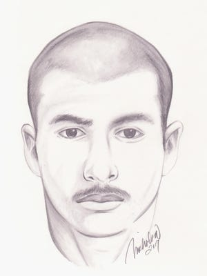 "The Oxnard Police Department has issued this sketch, described by authorities as a ""Hispanic male in his mid-20s"" as a person of interest in the case of a June 11 shooting."