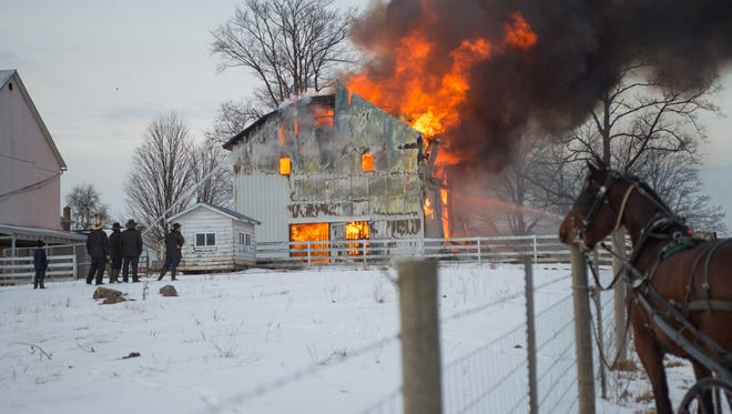 A barn in inMiddlebury Township went up in flames on Friday.