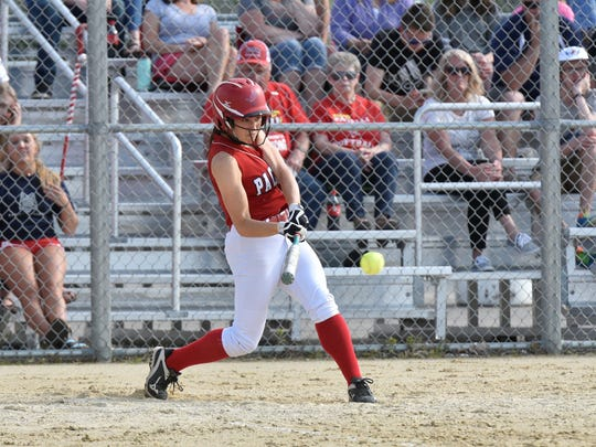 A Pacelli batter looks to make contact during the Division 4 regional semifinal against Rosholt at Spud Field on Wednesday.