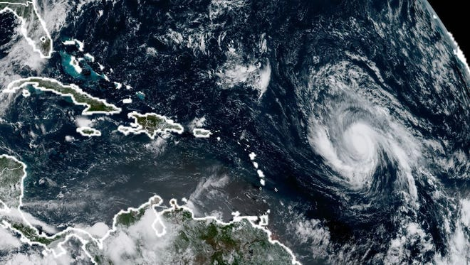 This image from the National Oceanic and Atmospheric Administration shows Hurricane Irma on Sept. 3, 2017.
