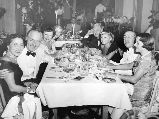 Left to right: Louella Parsons, William Powell, Virginia (Valli) Farrell, Ethel Strebe, Frank Sinatra (at back table)Charlie Farrell, Mousie Powell, and unidentified man and woman at the Racquet Club c. 1948.