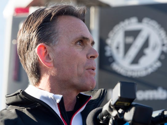 Macomb County Executive Mark Hackel speaks during a news conference in Fraser, Mich., in 2017.