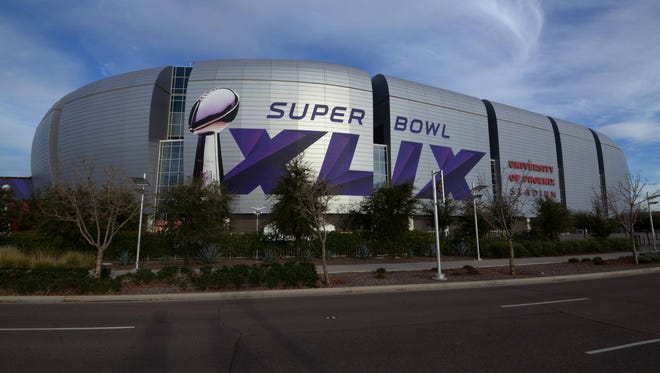 General view of University of Phoenix Stadium in advance of Super Bowl XLIX between the Seattle Seahawks and the New England Patriots.