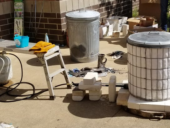 The raku kiln was set up outside the front office at