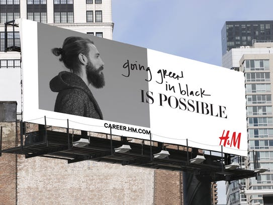 A billboard for H&M's recruiting campaign promotes