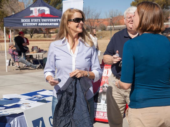 Congressional candidate Charlene Albarran meets with