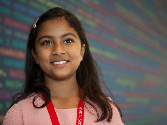 Anvitha Vijay, a 9-year-old student developer at the