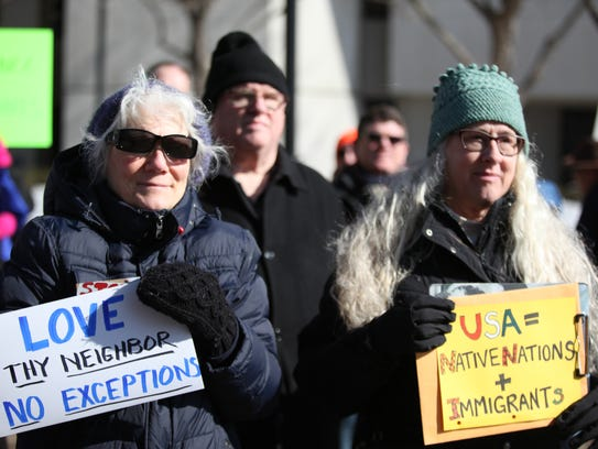 A rally held by the American Civil Liberties Union