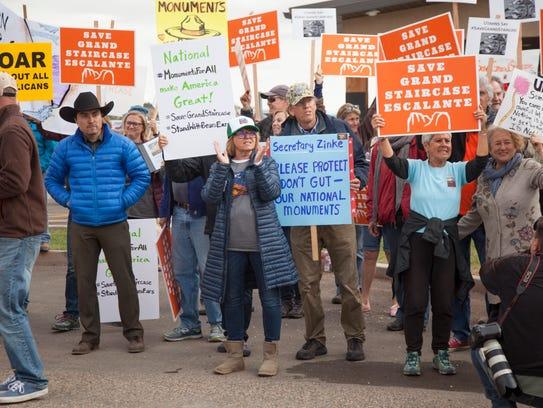 Demonstrators gather in Kanab in a hope of garnering