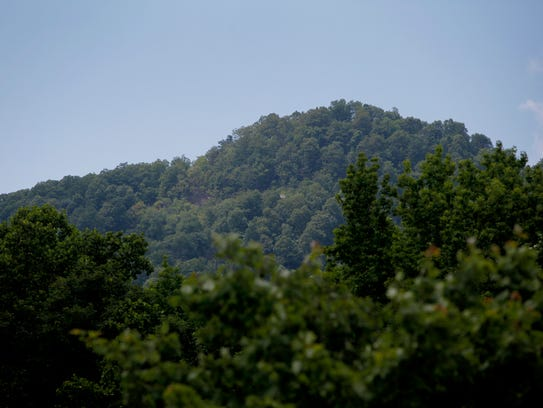 Little White Oak Mountain is seen through the trees