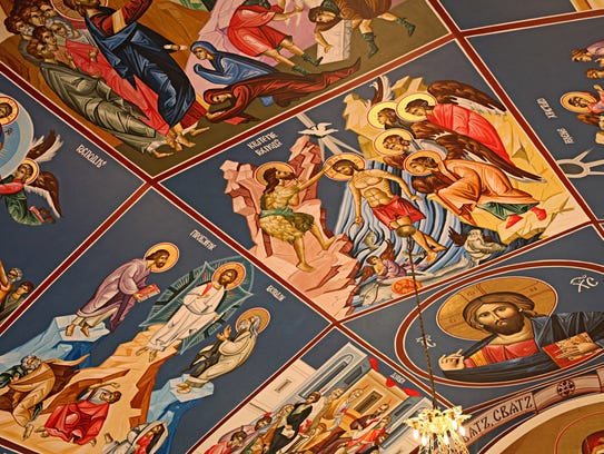 A detail view of ceiling paintings at St. Nikola Serbian