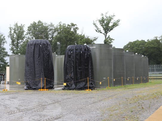 Spent fuel containment casks at the Indian Point Energy