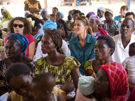 Melinda Gates listens with a group at the Wakhinane