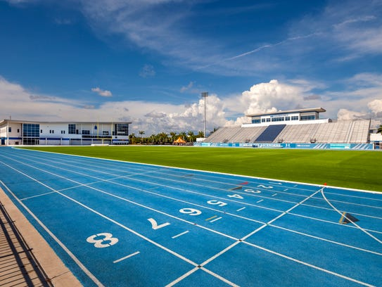 The track and and football stadium at IMG Academy in