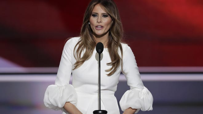 Melania Trump, wife of presumptive Republican presidential candidate Donald Trump, speaks during the opening day of the Republican National Convention in Cleveland on Monday.