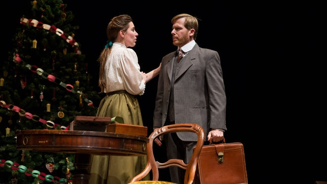 Kim Carson (Nora) plays wife to David Arrow (Torvald) in the Delaware Theatre Company's 2015 production of Ingmar Bergman's 'Nora.'
