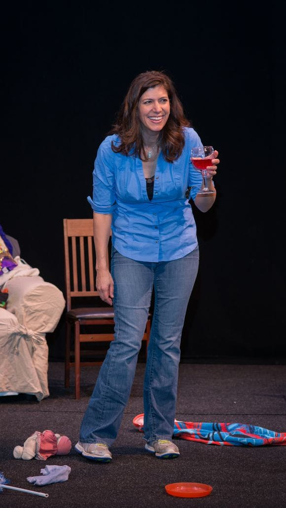 Dena Blizzard toasts all moms, everywhere, as part of her show 'One Funny Mother.'