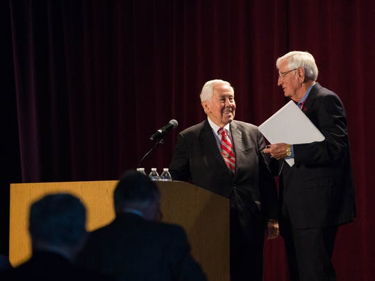 Richard Lugar, former senator from Indiana and the keynote speaker at the 2017 Domenici Public Policy Conference, is thanked by New Mexico State University Chancellor Garrey Carruthers at the Las Cruces Convention Center. Wednesday September 13, 2017.