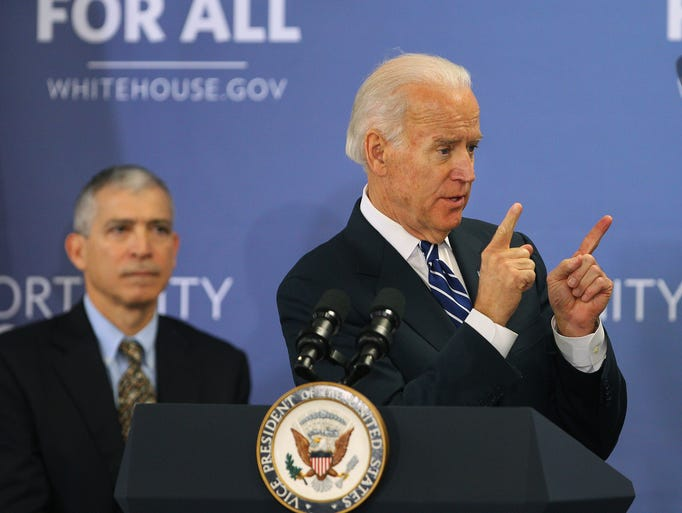 Vice President Joe Biden speaks to a group at Monroe Community College in Rochester.