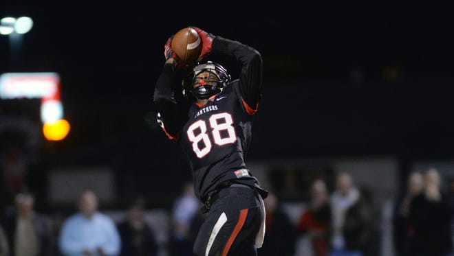 Parkway's Terrace Marshall catches a pass during the 2015 season.