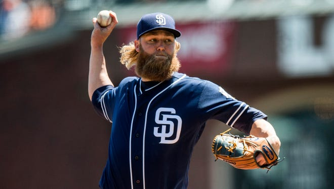 In seven major league seasons, Andrew Cashner has a 30-49 record with a 3.72 ERA.