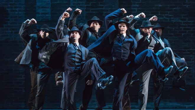The cast of 'Bullets Over Broadway,' which is headed to the Academy of Music as part of a national tour. The show is based on a screenplay by Woody Allen.